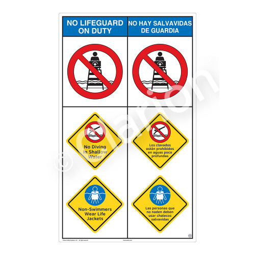 No Lifeguard on Duty/No Diving in ShallowSign (WSS2307-08b-esm))