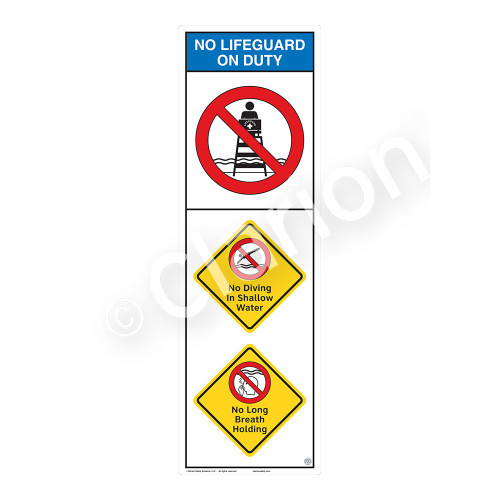 No Lifeguard on Duty/No Diving in ShallowSign (WSS2308-07b-e))