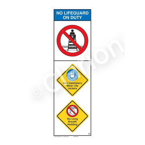 No Lifeguard on Duty/Non-Swimmers WearSign (WSS2309-07b-e))