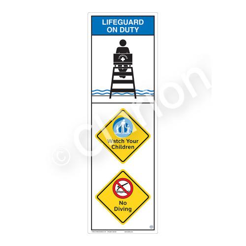 Lifeguard on Duty/Watch Your Children Sign (WSS2310-07b-e) )