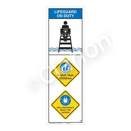 Lifeguard on Duty/Watch Your Children Sign (WSS2312-07b-e) )