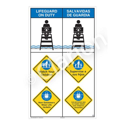 Lifeguard on Duty/Watch Your Children Sign (WSS2312-08b-esm) )