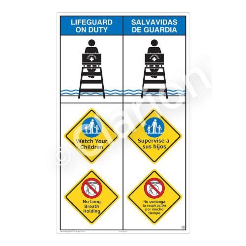 Lifeguard on Duty/Watch Your Children Sign (WSS2313-08b-esm) )