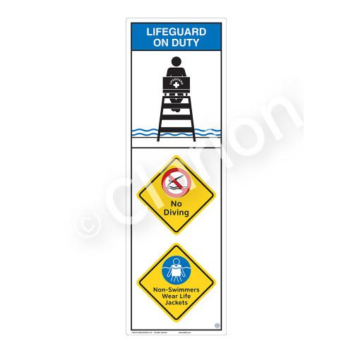 Lifeguard on Duty/No Diving Sign (WSS2314-07b-e) )