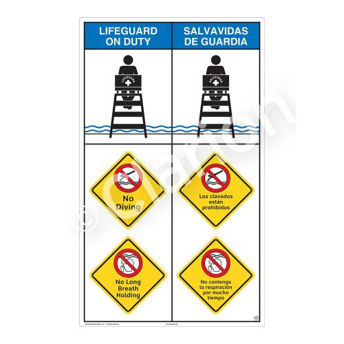 Lifeguard on Duty/No Diving Sign (WSS2315-08b-esm) )