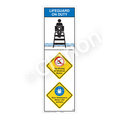 Lifeguard on Duty/No Diving in Shallow Water Sign (WSS2316-07b-e) )