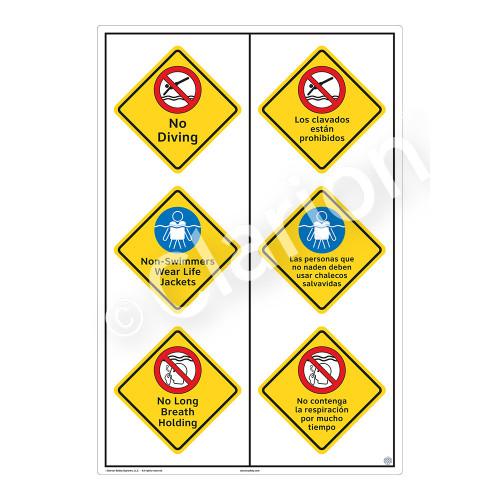 No Diving Sign (WSS2323-55b-esm) )