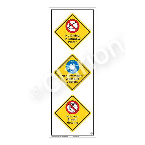 No Diving In Shallow Water Sign (WSS2324-54b-e) )