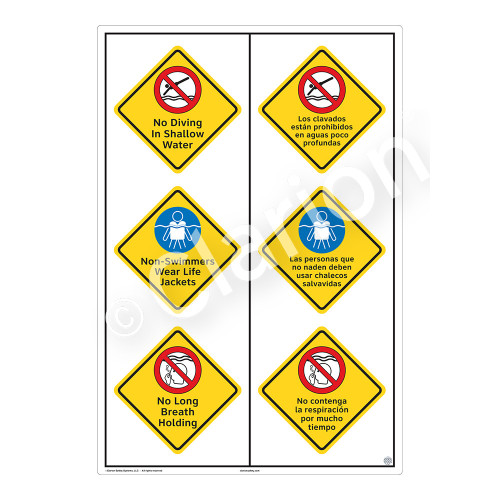 No Diving In Shallow Water Sign (WSS2324-55b-esm) )