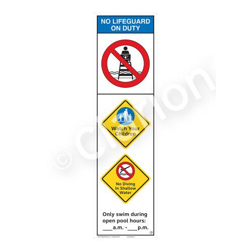 No Lifeguard on Duty/Watch Your Children Sign (WSS2352-44b-e) )