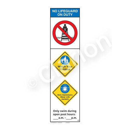 No Lifeguard on Duty/Watch Your Children Sign (WSS2353-44b-e) )