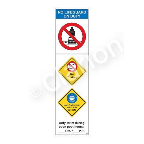 No Lifeguard on Duty/No Diving Sign (WSS2355-44b-e) )