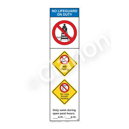 No Lifeguard on Duty/No Diving Sign (WSS2356-44b-e) )