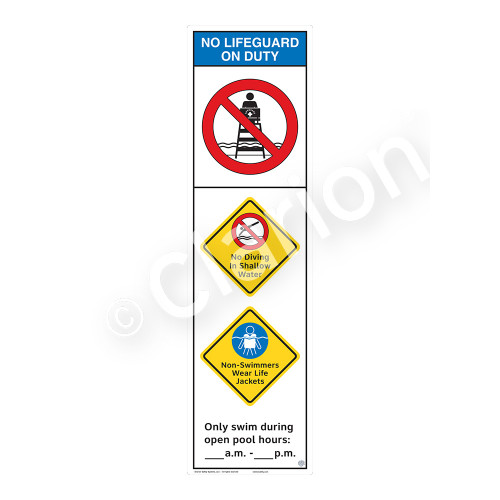 No Lifeguard on Duty/No Diving in ShallowSign (WSS2357-44b-e))
