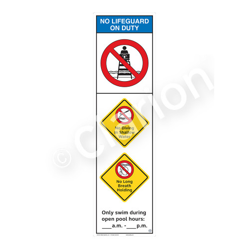 No Lifeguard on Duty/No Diving in ShallowSign (WSS2358-44b-e))