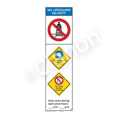 No Lifeguard on Duty/Non-Swimmers WearSign (WSS2359-44b-e))