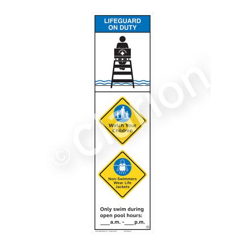 Lifeguard on Duty/Watch Your Children Sign (WSS2362-44b-e) )