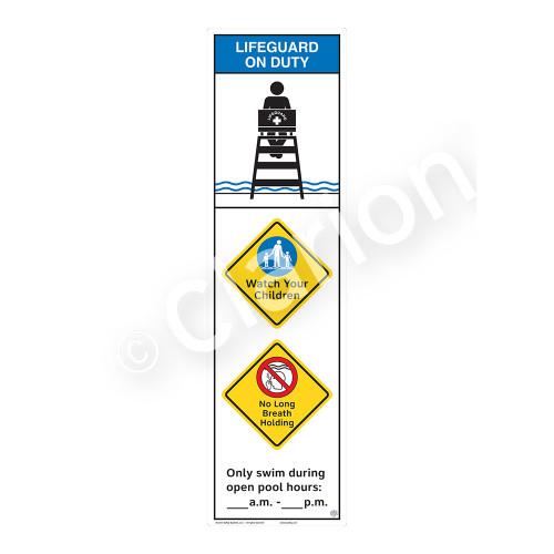 Lifeguard on Duty/Watch Your Children Sign (WSS2363-44b-e) )