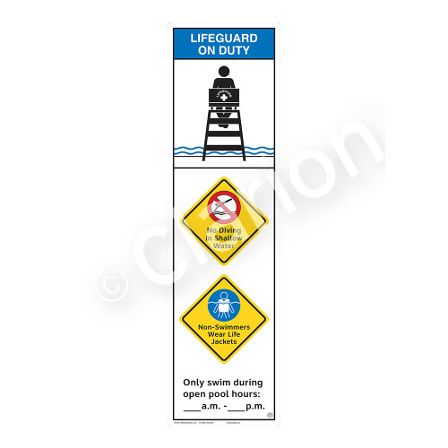 Lifeguard on Duty/No Diving in Shallow Water Sign (WSS2366-44b-e) )