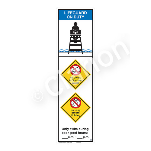 Lifeguard on Duty/No Diving in Shallow Water Sign (WSS2367-44b-e) )