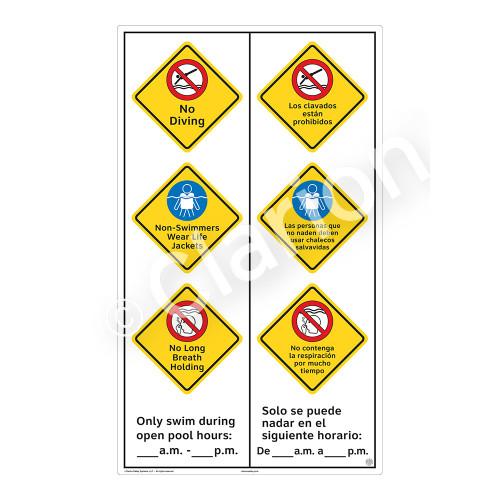 No Diving Sign (WSS2373-57b-esm) )