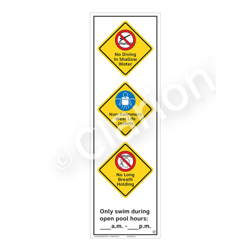 No Diving In Shallow Water Sign (WSS2374-56b-e) )