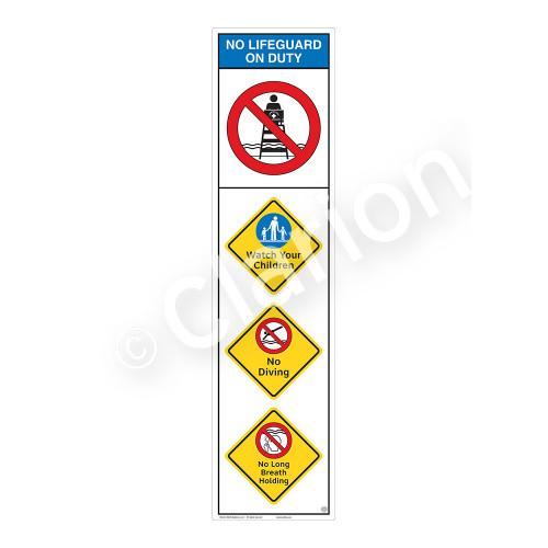 No Lifeguard on Duty/Watch Your Children Sign (WSS2402-09b-e) )