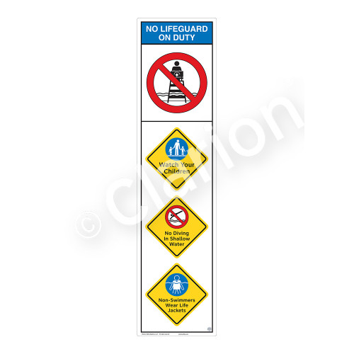 No Lifeguard on Duty/Watch Your Children Sign (WSS2403-09b-e) )