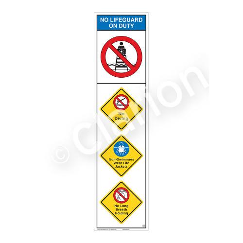 No Lifeguard on Duty/No Diving Sign (WSS2405-09b-e) )