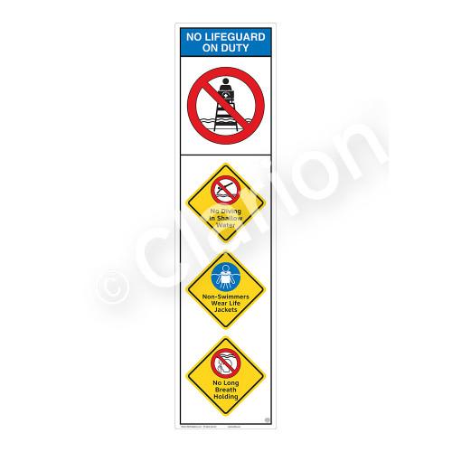 No Lifeguard on Duty/No Diving Shallow WaterSign (WSS2406-09b-e))