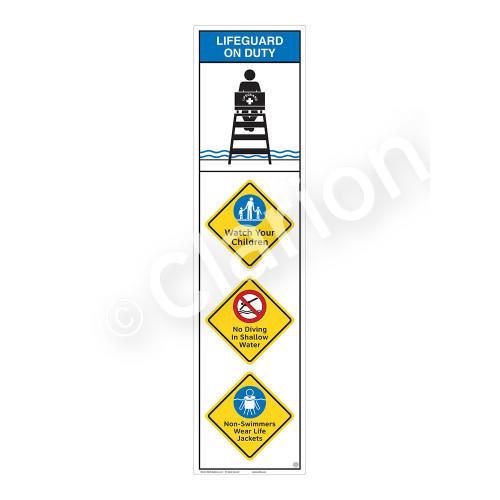 Lifeguard on Duty/Watch Your Children Sign (WSS2409-09b-e) )