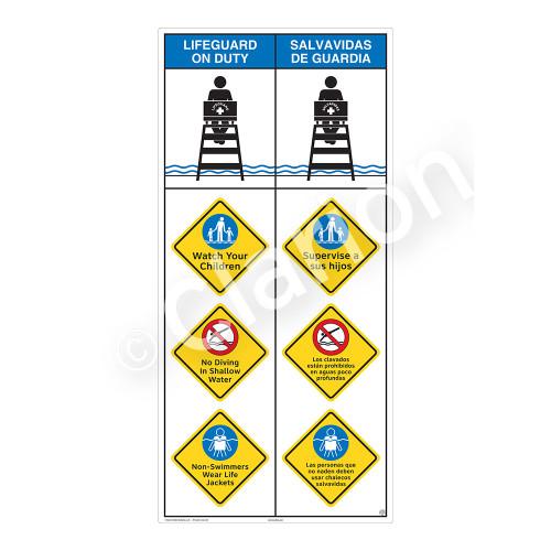 Lifeguard on Duty/Watch Your Children Sign (WSS2409-10b-esm) )
