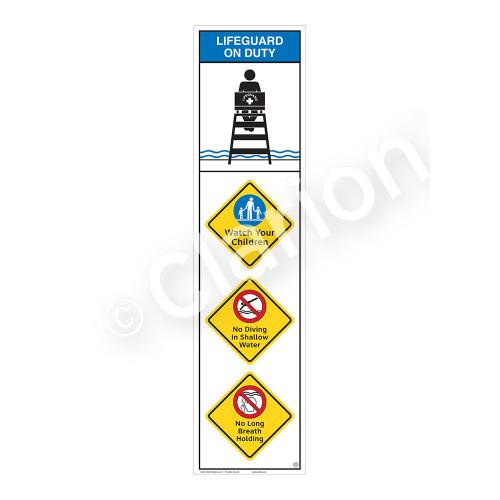 Lifeguard on Duty/Watch Your Children Sign (WSS2410-09b-e) )