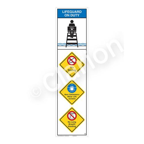 Lifeguard on Duty/No Diving Sign (WSS2411-09b-e) )
