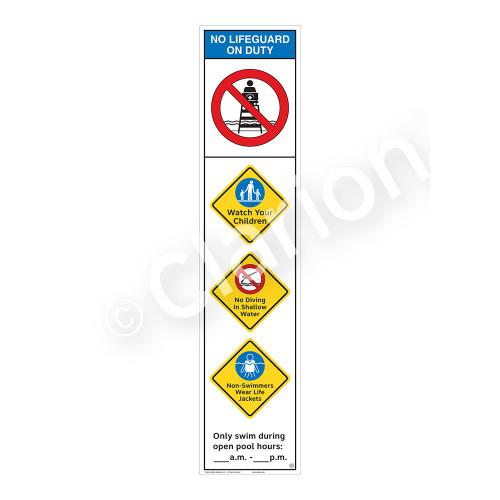 No Lifeguard on Duty/Watch Your Children Sign (WSS2453-46b-e) )