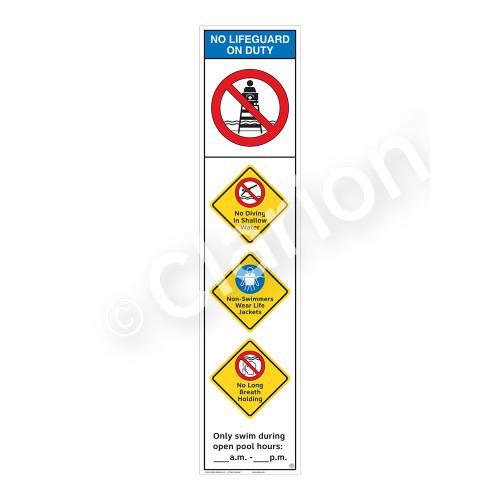 No Lifeguard on Duty/No Diving Shallow WaterSign (WSS2456-46b-e))