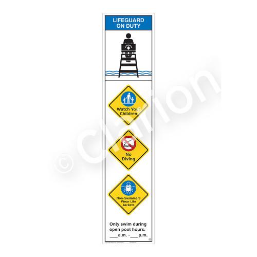 Lifeguard on Duty/Watch Your Children Sign (WSS2457-46b-e) )