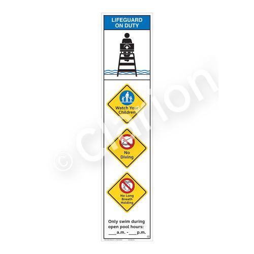 Lifeguard on Duty/Watch Your Children Sign (WSS2458-46b-e) )