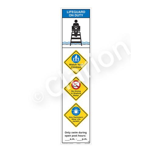 Lifeguard on Duty/Watch Your Children Sign (WSS2459-46b-e) )