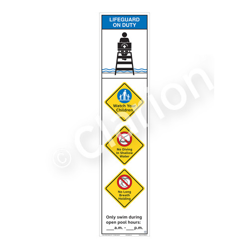 Lifeguard on Duty/Watch Your Children Sign (WSS2460-46b-e) )