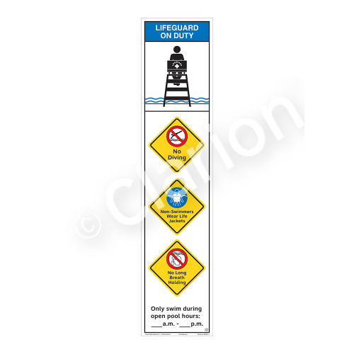 Lifeguard on Duty/No Diving Sign (WSS2461-46b-e) )