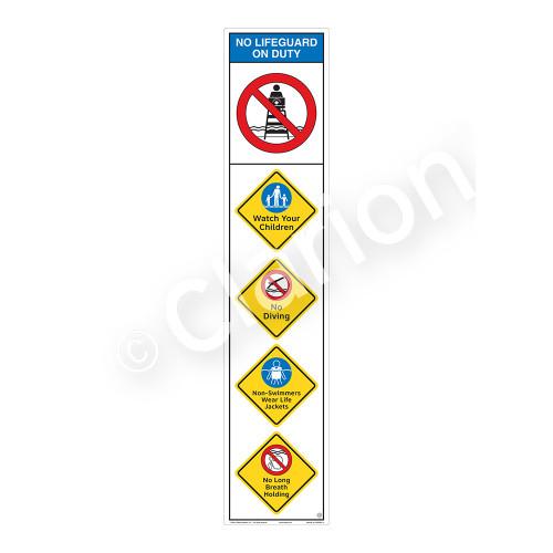 No Lifeguard on Duty/Watch Your Children Sign (WSS2501-11b-e) )