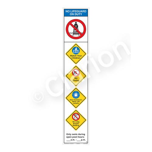 No Lifeguard on Duty/Watch Your Children Sign (WSS2551-48b-e) )