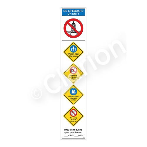 No Lifeguard on Duty/Watch Your Children Sign (WSS2552-48b-e) )