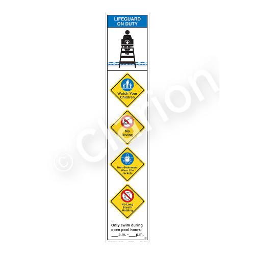 Lifeguard on Duty/Watch Your Children Sign (WSS2553-48b-e) )