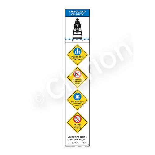 Lifeguard on Duty/Watch Your Children Sign (WSS2554-48b-e) )