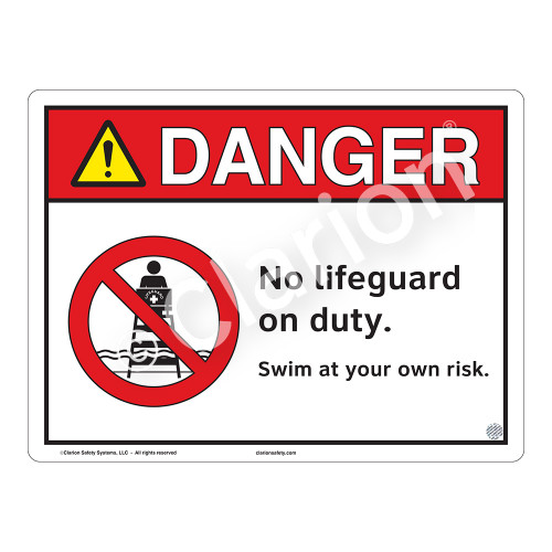 Danger/No Lifeguard on Duty Sign (WSS3101-13a-e) )
