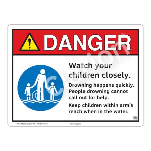 Danger/Watch Your Children Sign (WSS3102-13b-e) )