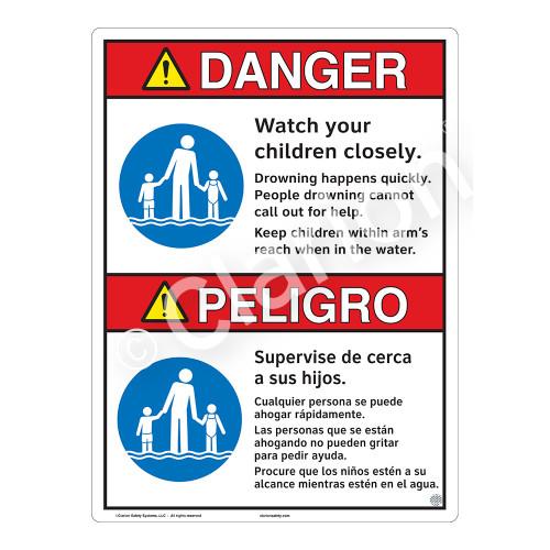 Danger/Watch Your Children Sign (WSS3102-16b-esm) )