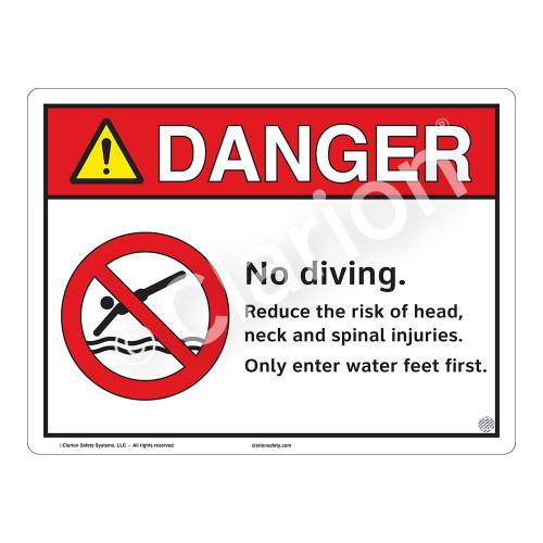 Danger/No Diving Sign (WSS3103-13b-e) )